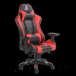 Devo Gaming Chair - Fliktik Carbon Fiber + Footrest - Black & red